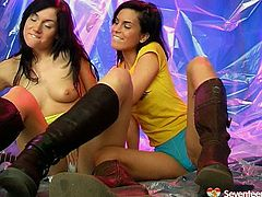 These hotties know how to make each other cum. Appetizing brunette in yellow t-shirt takes the lead. She licks and sucks her girlfriend's pussy and tits with unrestrained passion. After a while she gets her juicy twat drilled hard with a yellow dildo toy.