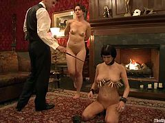 Cherry Torn and Sarah Shevon get tied up. Then Sarah gives a blowjob to her master. Later on Cherry gets her pussy toyed.