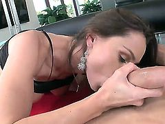 Cheating cock addicted brunette Nora Noir with big firm gazongas and long legs gives head to young stud and gets her firm ass boned deep in living room in close up.