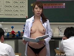 Sana Kawashima the chemistry teacher shows her boobs and sucks several dicks. After all she gets her face covered with thick cum right in a classroom.