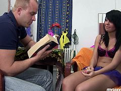 Voluptuous brunette student is getting prepared for final exam along with her tutor. However she lures him with her curvy shapes. So he starts trifling her vagina before she gets down to his penis to give a head in peppering sex clip by My Sexy Kittens.