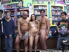 Spoiled long haired brunette harlow shows off her cuddly body while being surrounded by the bunch of sex hungry dudes in grocery store. Later gets inside a car for steamy fuck.