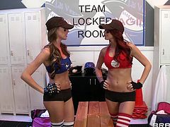 These two horny cheerleaders are changing their clothes for their next game when their big dicked teammate enters the room. He is amazed by seeing those round and fascinating boobs which has made his dick hard. Of course, he misses the match and lets these hungry chicks stuff their mouths with his cock.