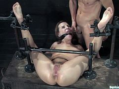 Get a load of this bondage video a horny redhead has her asshole stretched out by a guy with a butt-plug while being tied up before he fucked her with his hard cock.