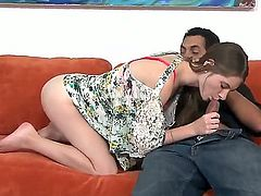 Adorable slender teen Alice March gets her tender tight pussy boned by a horny dude