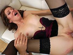 Horny dude wins a chance to enjoy a solid blowjob provided by pale booty brunette. Filthy bitch in black stockings spreads legs wide on the couch and begs to polish her asshole with a sex toy before being analfucked tough.