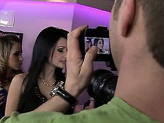 Hot ass pretty Aleska Diamond with slim body in stockings and high heels and black haired bombshell Aletta Ocean with stunning tits in slutty dress dance around stripping pole.