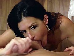 Young tall stud Bill Bailey with meaty pecker gets seduced by tanned black haired cougar India Summer with perfectly shaped body in high heels only and films her in pint of view.