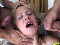 Nasty babes fuck hard, suck cock and end up with their face drenched with jizz. Don't miss this nasty compilation of sticky cumshots.