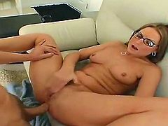Flower Tucci is a cute blonde with glasses who loves to play with her toy before she lets her guy named Mark get inside her. He fucks her so damn hard and she enjoys every second.