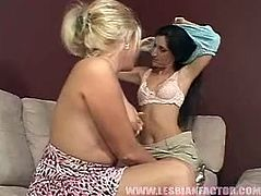 Two sex hungry housewives cannot think of another way to satisfy their lust than throw a lesbian sex orgy. They kiss in lips gently before a spoiled brunette sticks her hard nipples inside a warm mouth of sizzling blondie to let her suck them.