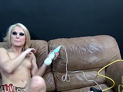 A horny slut who is wearing nothing is sitting on the couch with her legs spread. Then the big dick guy is passionately eating her juicy pussy right before the entry of Cameron. She too is pleasing her mate with hard licks on her nipples. That vibrator that Ash is using makes her moan and laugh.