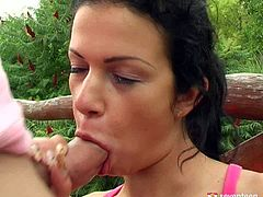 Sextractive brunette doxy hook up with a kinky dude on the bridge. She demonstrates him her big perky tits before she kneels down to oral fuck his sturdy penis.