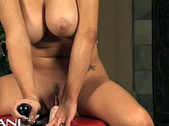 Watch the wild and busty brunette temptress Jenna Presley making her big round tits bounce as she rides a sybian into kingdom come with her tight pink clam.