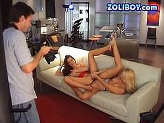 Making porn process is a really exciting sex video. Enjoy behind the scene porn scene from 21 Sextury porn site. Two lesbians fuck double sided dildo in front of the cameramen.