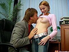 She is adorable redhead girl with natural perky tits. She flashes her boobs in front of horny dude letting him knead them actively. Then she unzips dude's jeans revealing hard flesh out of his pants. She wraps his cock with ample mouth lips sucking him deepthroat.