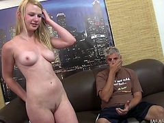 Maci is a slutty new girl who is sitting on the lap of this horny guy, undressed and getting her boobs groped by him. She becomes so horny that she sits on his face so that he can eat her shaved pussy well. Then, this long haired blonde chick repays him by sliding his lips on his strong hot rod.
