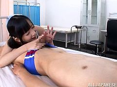 Damn, man! What a smoking hot girl Tsumugi Seriza is! Babe gets naked and starts sucking this guy's hard dick and then honey jumps on him!