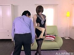 Slim and hot Japanese chick in stockings lies on an armchair and gets her pussy fingered by her boss. Later on she gives him a blowjob and a rimjob. After that she rides a dick and gets her mouth filled with cum.