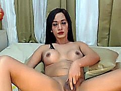 Big cock busty tranny is one horny slut, masturbating hard in front of the cam! She enjoyed stroking her monster cock in front of her viewers till she almost reaches climax!