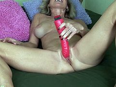 A dirty-ass fucking whore gets naked for the camera and fucking inserts a hard toy in her pink-ass motherfucking pussy, check it out!