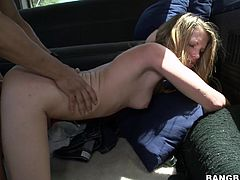 A gorgeous fucking dirty whore sucks on this dude's hard fucking dick and then gets it shoved balls deep into her cock pocket!