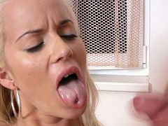 Hell attractive and sexy blonde babe is standing on her all four getting hammered bad doggy style. She moans and screams wild with joy reaching orgasm in female ejaculation porn scene. Then she sucks engorged dick for tasty cum until the guy explodes huge load in her mouth.
