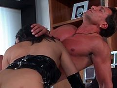 See a perverse and wild brunette Asian domme clad in a hot latext outfix as she gets her clam and mouth banged by her beefy slaves. Then she's ready for some extremely intense double-penetration!