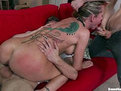 Kinky blonde chick gets undressed and then tied up by group of horny guys. After that she gets her pussy and ass destroyed.