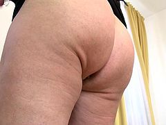 Chubby and horny Helena shows us her huge, saggy boobs and what she has between her thighs. The blonde whore inserts a glass dildo in her fat, bald pussy and enjoys herself! Yeah she's having a great time but is that enough for her, doesn't she craves for a real cock? Stick around and find out!