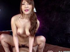 Insatiable Japanese cutie Kokomi Sakura is having fun with some lucky man. She gives him a fantastic blowjob and then they bang in cowgirl position and doggy style.