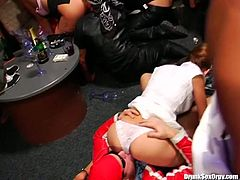 Are you looking for something extremely hot and exciting? Enjoy dissolute party produced by crazy porn site Tainster. A lot of hussy sluts get fucked right on the dance floor.