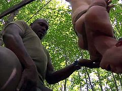 These whores thought that it will be fun to go hiking, but things got out of control. They've ended up at the mercy of this black hunk and things start to get very interesting. As one of the bitches is hanged upside down tied on a tree, the other one was busy getting fucked from behind. Let's see what else awaits the girls.