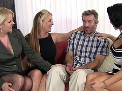 Watch out these cougars, they are wild and lustful! Steven is a lucky guy, he's being attacked by three smoking hot cougars that want his hard dick. These bitches suck his cock with passion and it's only a matter of time until one of them will get spunk. Which one of them will be the lucky one? and will she share it? Find out soon!