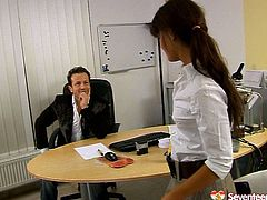 Just look at this slim brunette secretary. This chick in short skirt and too tight white blouse is the way too mad about sex. Horn-mad nympho lures her boss for sex. She spreads legs wide and lets him rub her wet pussy right in