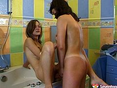 Don't skip these tempting Russian girlfriends who love each other on the floor in the bath room. Petting, hot kissing, pussy eating and body fondling are waiting for you in Seventeen Video.