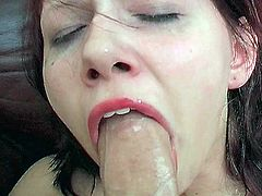 See the lovely redhead belle Stefani getting her throat banged pov style in this hot blowjob video.