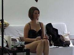 Here you will see this amateur Czech cutie in a photoshoot backstage. She take her sexy dress of to show her amazing naturals and round ass!