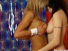 It's a time for exciting lesbian sex tube video featuring booty blonde and busty brunette teen. They compare each others tits and play with dildo toy collection.