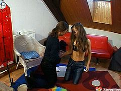 Lustful long-haired student gets her soaking muf dived