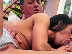 Insatiable fat dad calls up a steamy brunette prostitute with big firm tits. He forces her to mouth fuck his sturdy meaty penis before he goes down to her soaking vagina to give a tongue fuck.
