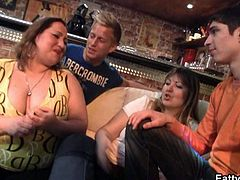 Horny BBW gets naked and gives head in a pub! Don't miss ths super hot and amateur scene as fat ladies get super dirty on camera.