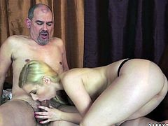 Mature guy with bald head is seduced by kinky young slut. Blonde chick reveals his dick out of his pants starting sucking the stick deepthroat. Then she gets her cherry polished too.
