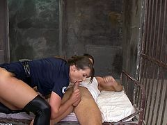 She is slutty warden wearing uniform. She looks extremely seductive in the outfit so the convict couldn't help fucking torrid bitch. He tears up her butt hole banging hard in dirty ass fuck porn clip.