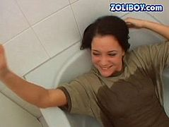 She is sassy hoe with stunning cock sucking skills. Working her mouth properly she makes the guy spurt jizz onto her pretty face glazing with sticky cream. Then she lies in the bathtub while perverted dude is pissing on her boobs.