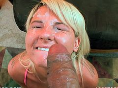 Cock sucker blonde gets a massive facial