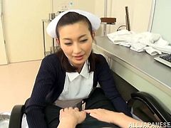 This desirable and kinky Japanese lust works at the hospital. She is a nurse and honey loves being so fucking sexy with her patients, riding and sucking their cocks!