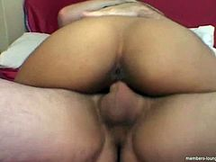 Bosomy Indian slut gets her shaved cunt pounded in sideways pose