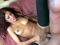 Attractive slender laitna beauty Isis Taylor with tight ass and nice natural boobs in sexy stockings only gets shaved honey pot boned balls deep by Marco Bnaderas and rides on his dick.