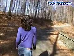 Fraught brunette is ready to bare her ass outdoor. She shows off her juicy appetizing ass and later gives eager blowjob deep in the forest.